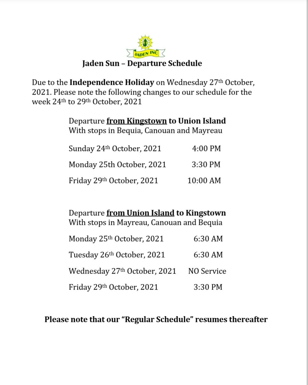 Independence Schedule